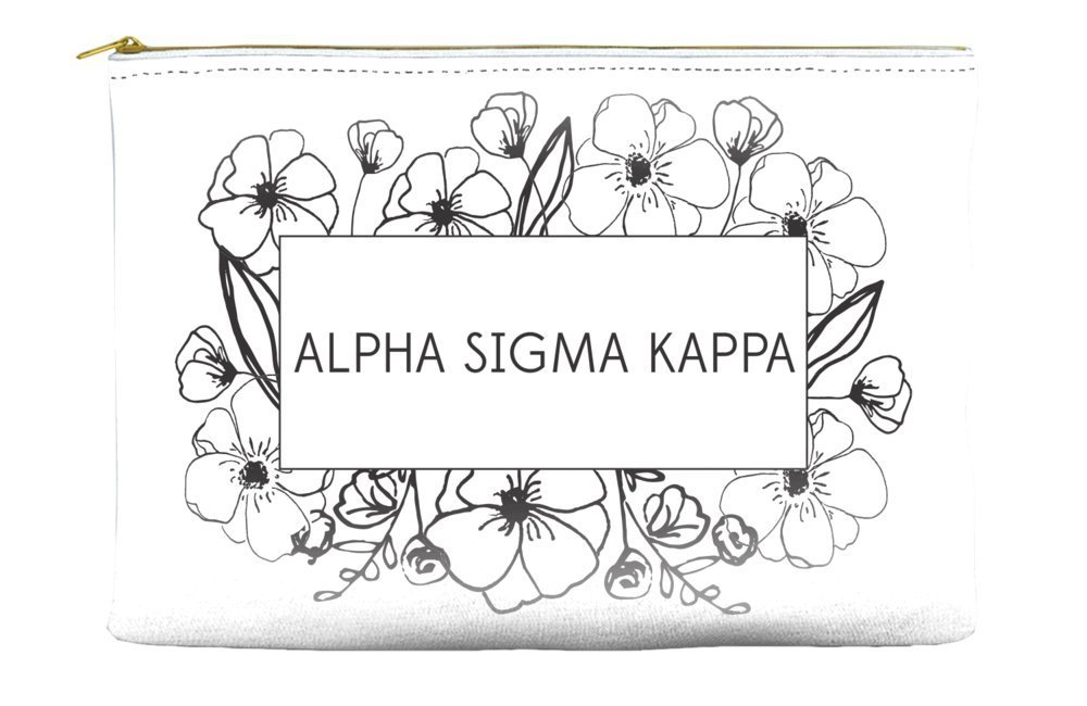 Alpha Sigma Kappa Flower Box White Cosmetic Accessory Pouch Bag for Makeup Jewelry & other Essentials