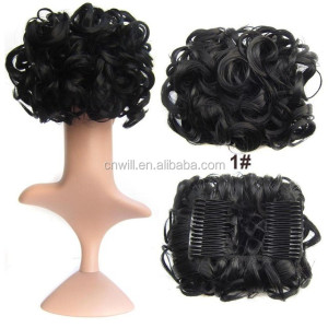 Women Wave Curly Easy Clip In Big Hair Bun Chignon With Two Plastic Comb Elastic Net Updo Cover Synthetic Hair Pieces 100g/pc