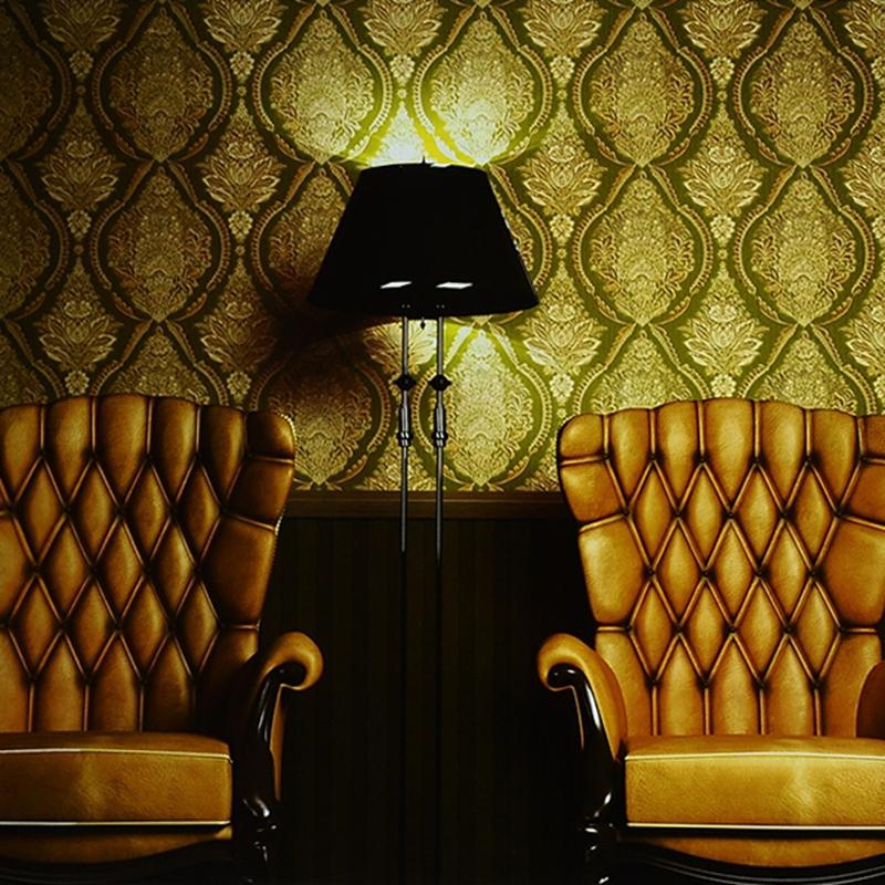 10M European Classic 3D Embossed Gold Foil Wallpaper Study
