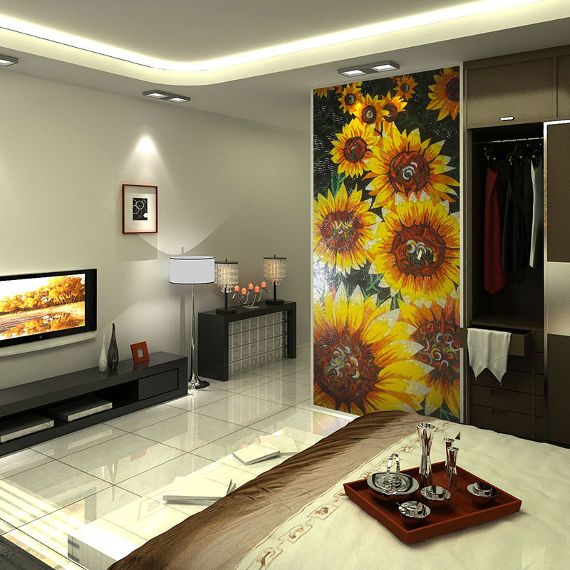 Sala de estar medall n del mosaico de girasol de la for Sala girasol