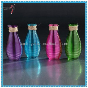 Hot Sale Machine Made Colored Glass Mexican Vases Cheap Colored