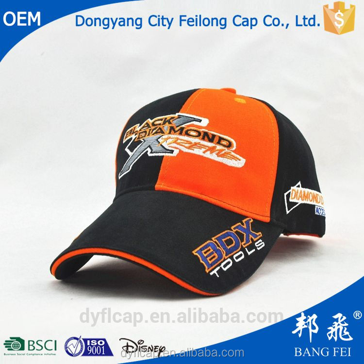 Customize baseball cap with long bill curved brim and perfect embroidery