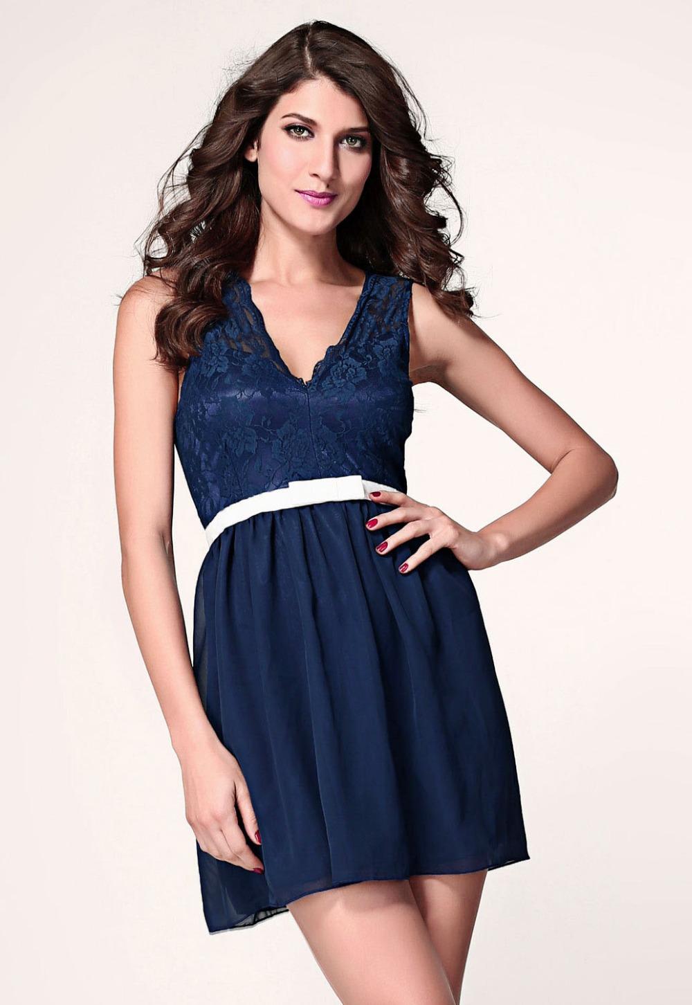 74753cb989 Get Quotations · wholesale popular women dress 2014 Navy Scalloped Lace  Skater Dress zapatillas dress free shipping