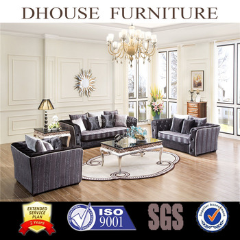 New Classic Style Sofa With Buttons Fabric Sofa Set Hot Sale Living Room  Sofa