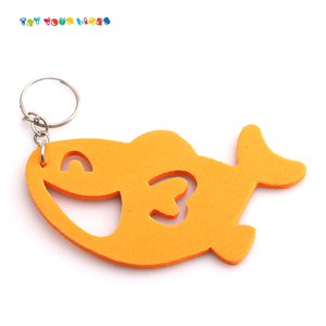 Mini promotional toy capsule baby soft toys assorted fish with keychain