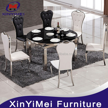 Chinese Restaurant Furniture New Model Round Marble Tops Dining Table Set