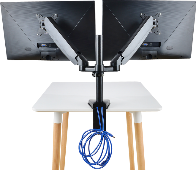Ergonomic Gas Spring 180 Degree <strong>Swivel</strong> 17&quot; - 27&quot; Standing Desk Monitor Arm Mount