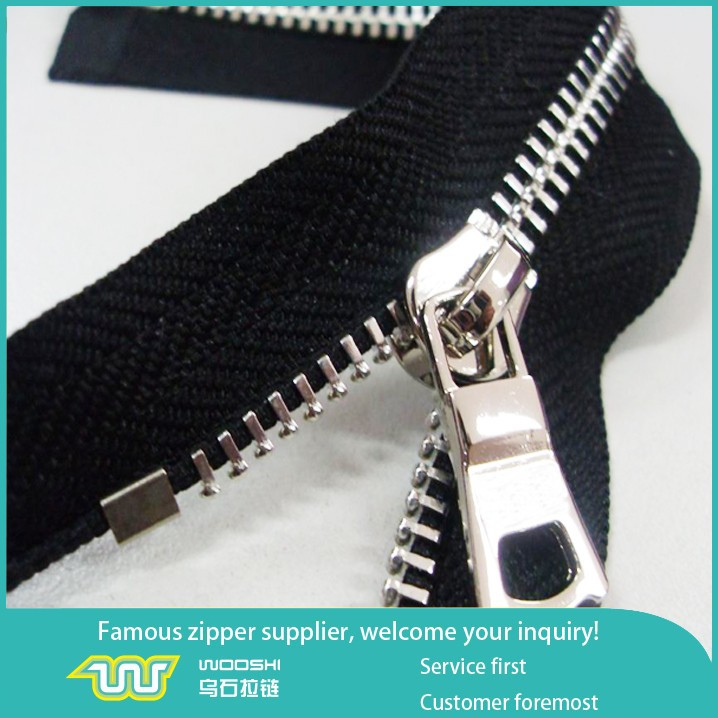 factory supply polished metal zipper for garment accessories