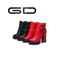 GD Autumn and winter Cheap PU Upper roundToe Chunky high-heeled platform martin boots ankle boots for women