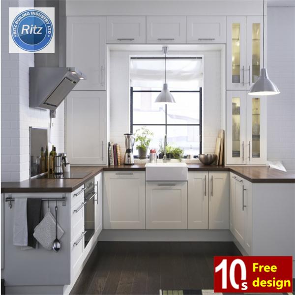 Dapur Lemari A Amerika U Bentuk Furniture Kichen Putih Kayu Kabinet