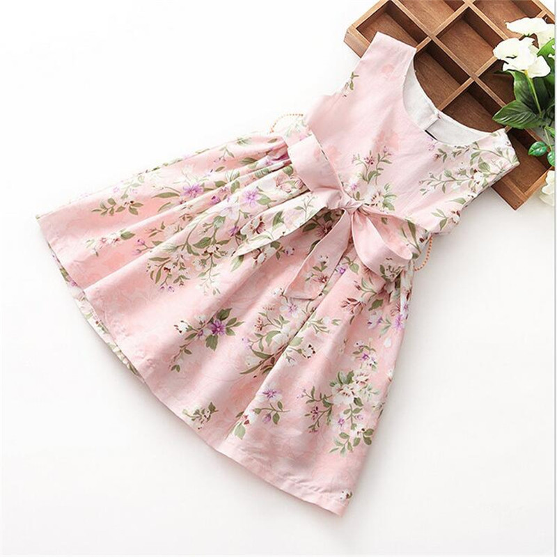 2016 new girl summer cute dress Girl cotton sleeveless dress floral with a belt girl dress