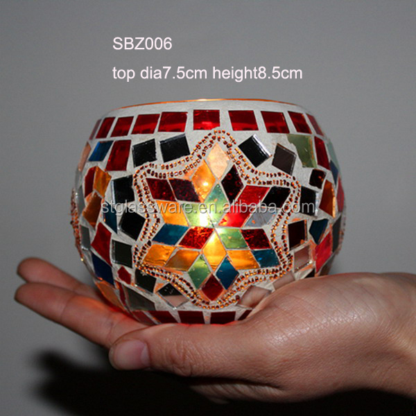 Low MOQ Round Ball Mosaic Glass Candle Holder
