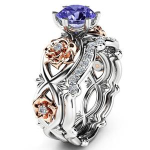 Dropshipping Jewelry Zircon Stone Rose Gold Flower Ring