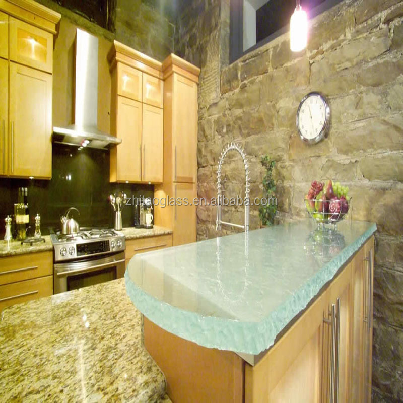 White kitchen fiberglass glass countertops