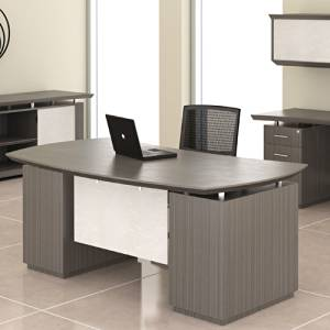 Modern Executive Desk With Optional Hutch & Credenza, Private Office Space (Executive Desk w Back Credenza & Hanging Hutch, Textured Driftwood)