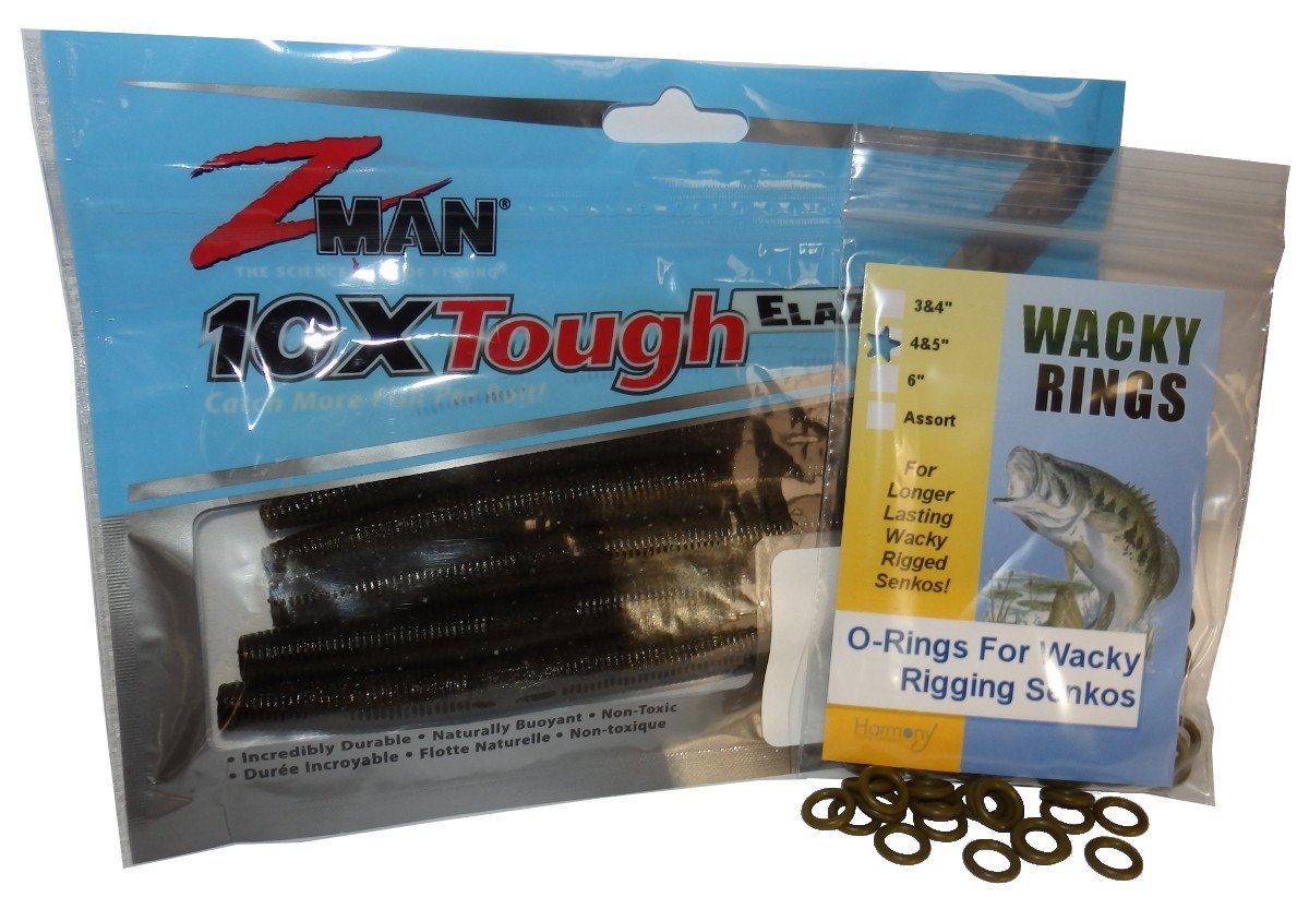 Wacky Rings & Z-Man Zinkerz - O-Rings for Wacky Rigging Senko Worms (100pk Green Pumpkin Orings & 6pk Zinkerz)