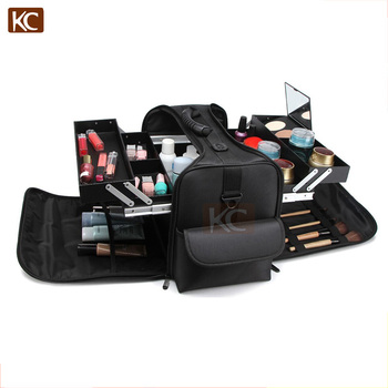 Nyloncosmetic bags with compartments&handle & namecard holder,Nylon Beauty Box, two-tiered removable tray box inside