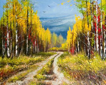 Gz556 40 50 Kekosongan Jalan Hutan Pemandangan Lukisan Minyak
