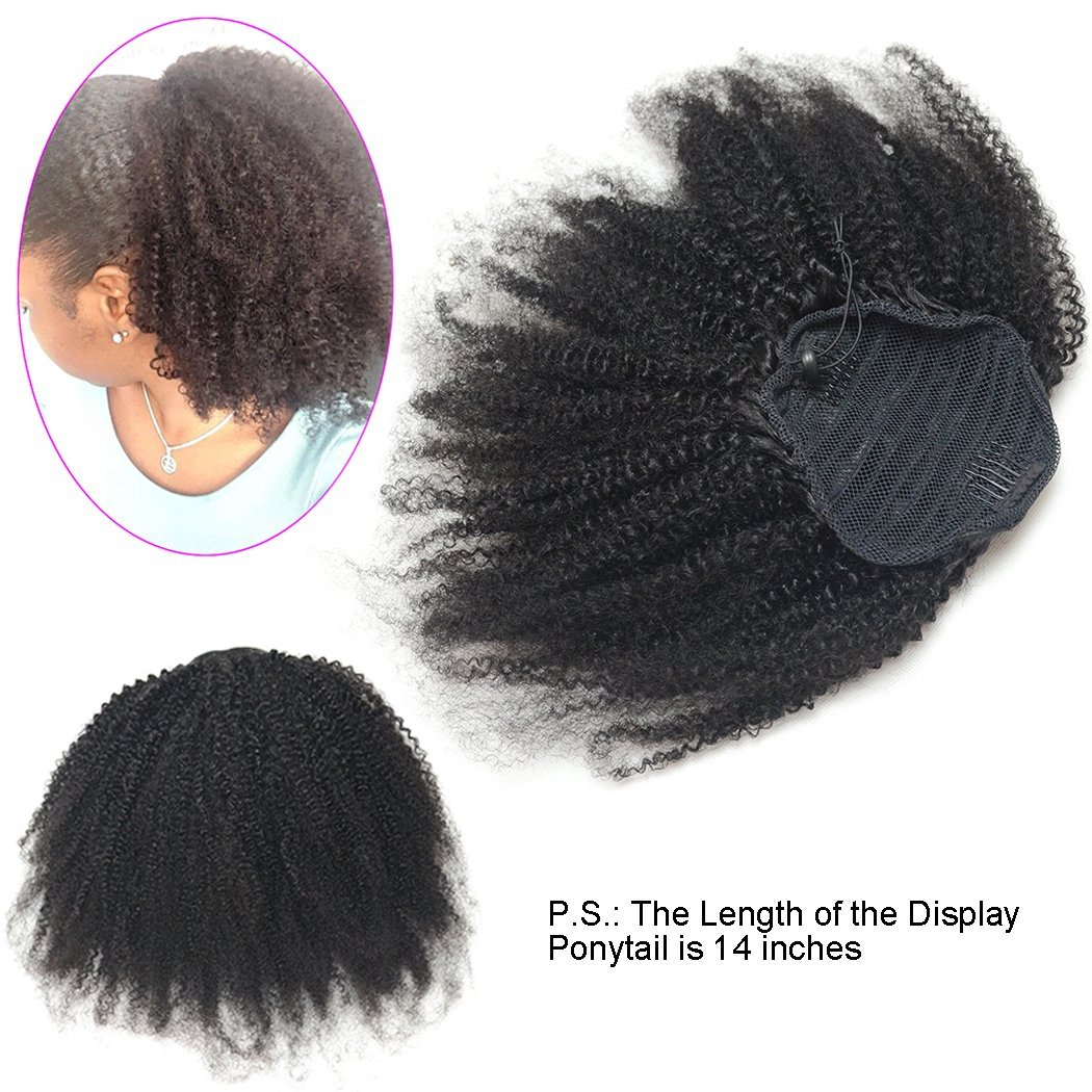 Luwigs Afro Kinky Curly 4B 4C Clip-in Top Closure Ponytail African American Human Virgin Hair Extension Drawstring Puff Ponytail Hairpiece Natural Color (14 inches, Afro Kinky Curly 4B 4C)