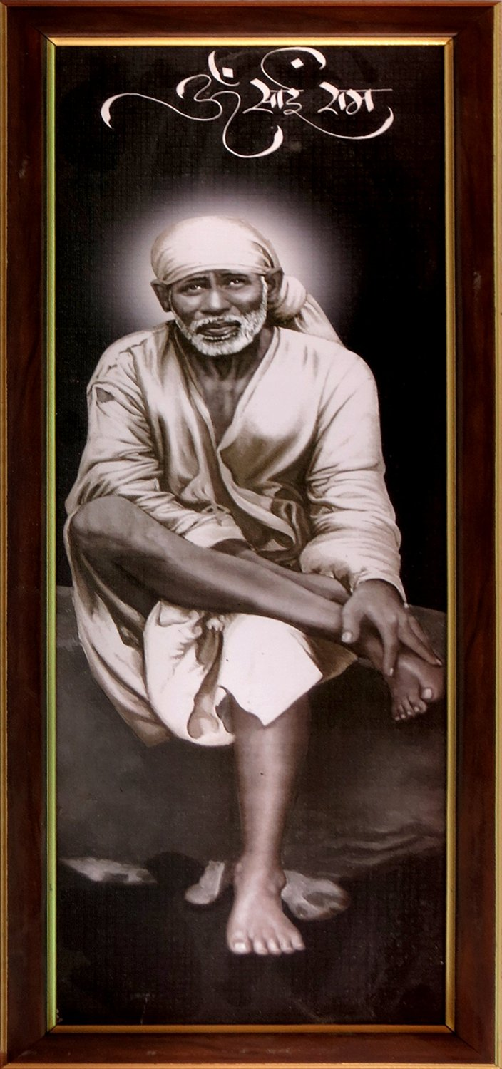 Lord Sai Baba Sitting on Rock Stone Wearing White Cloths, a Hindu Religious Poster for Home / Officice/ Religious and Gift Purpose