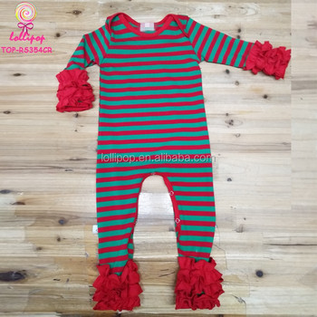 3a2f39634593 Triple Ruffle Icing Romper Wholesale Cotton Green   Red Striped ...
