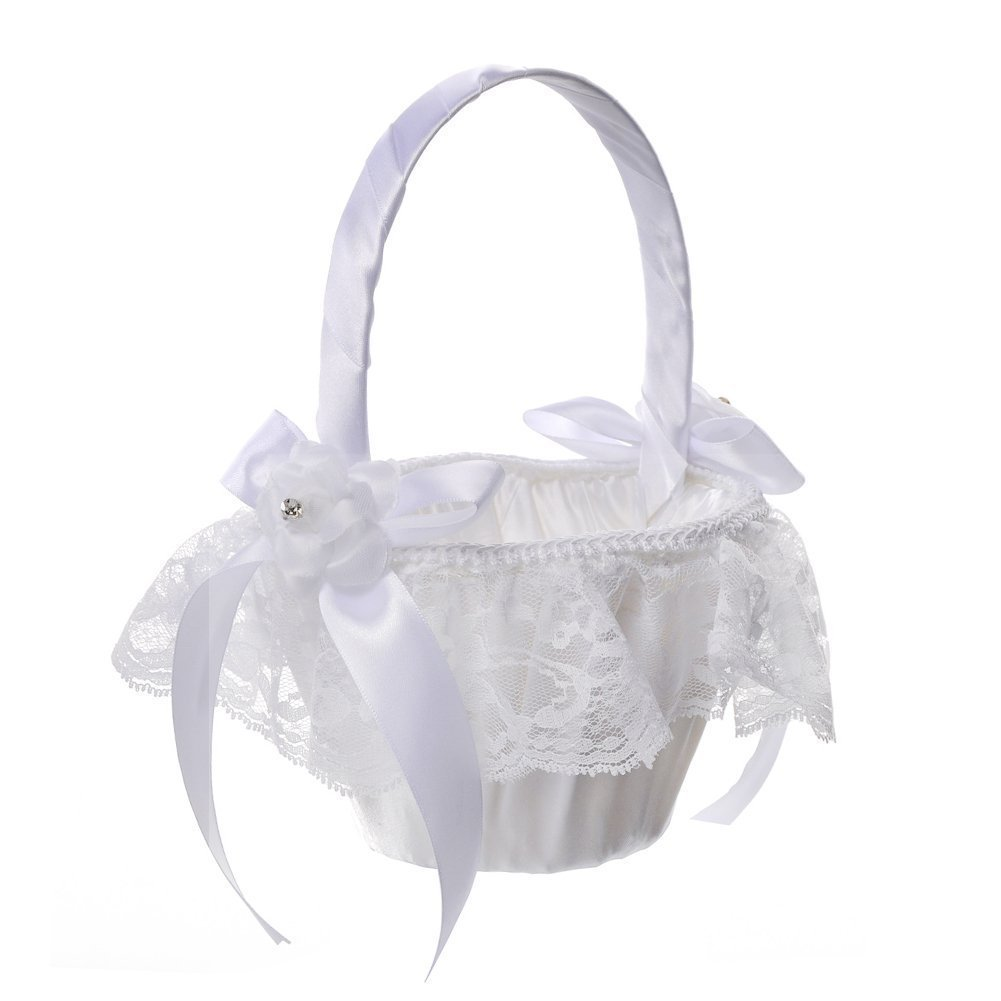 Cheap flower girl gift basket find flower girl gift basket deals on get quotations daycount white wedding flower girl basket with flowes satin ribbons bow rhinestone wedding party decorations izmirmasajfo