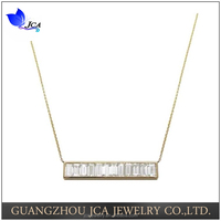925 sterling silver rhodium plating channel set baguette bar necklace with cz