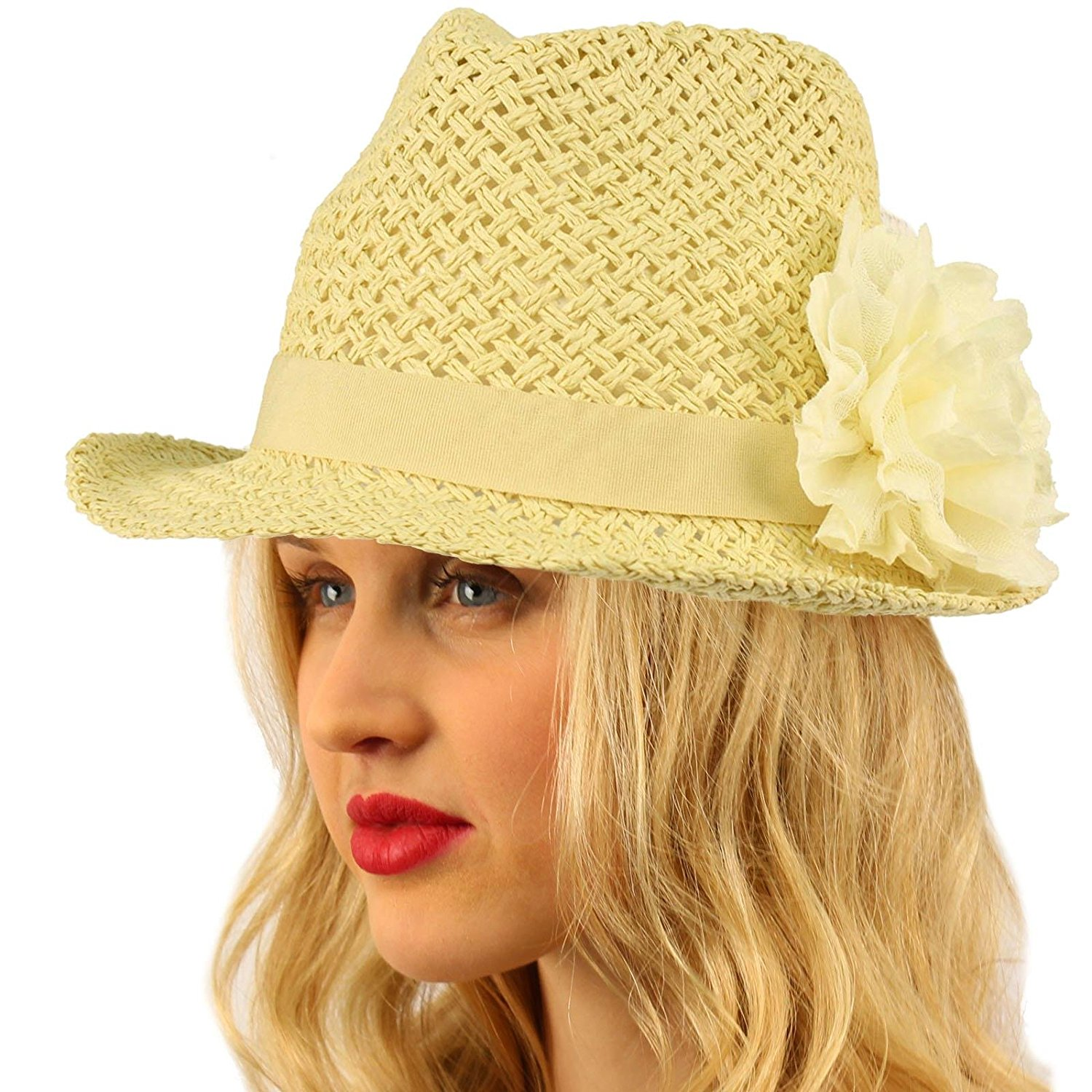 623ce157db9b5 Get Quotations · SK Hat shop Ladies Summer Light Weight Lace Flower Sun  Crushable Fedora Trilby Hat