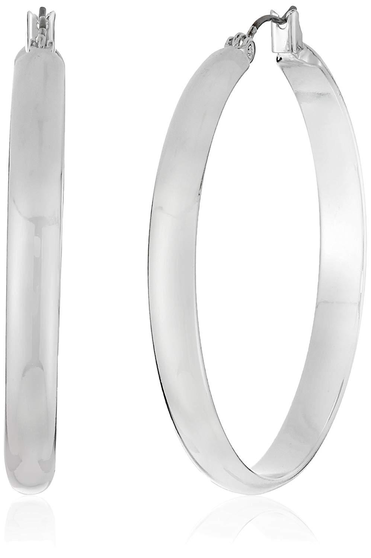Get Quotations Nine West Classics Silver Tone Large Skinny Hoop Earrings