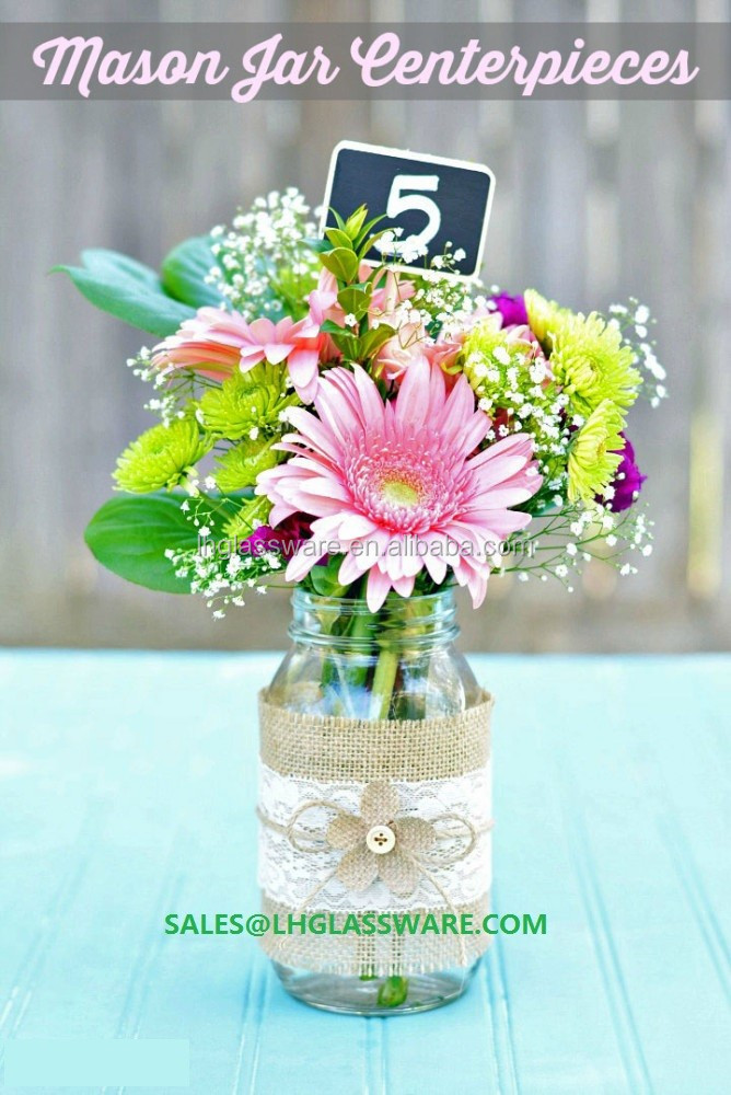 burlap and lace mason jar centerpieces with chalkboard display flowers for parties/dinners /decorate tables/hous