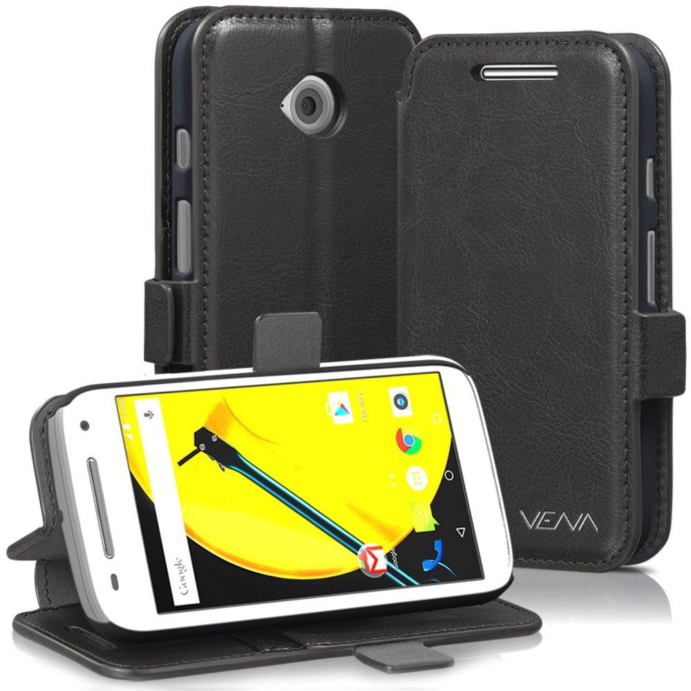 Motorola Moto E (2nd Gen, 2015) Wallet Case - VENA [vFolio] Slim Vintage Genuine Leather Wallet Stand Case with Card Slots for Motorola Moto E (2nd Gen, 2015) (Gray / Black)