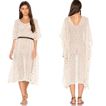 Loose Lace Dress Kimono White Plain Cotton Dress Lady Plus Size ...