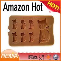 RENJIA oem ice cube trays custom logo printing silicon ice cube tray mould ice cube tray in cat shape