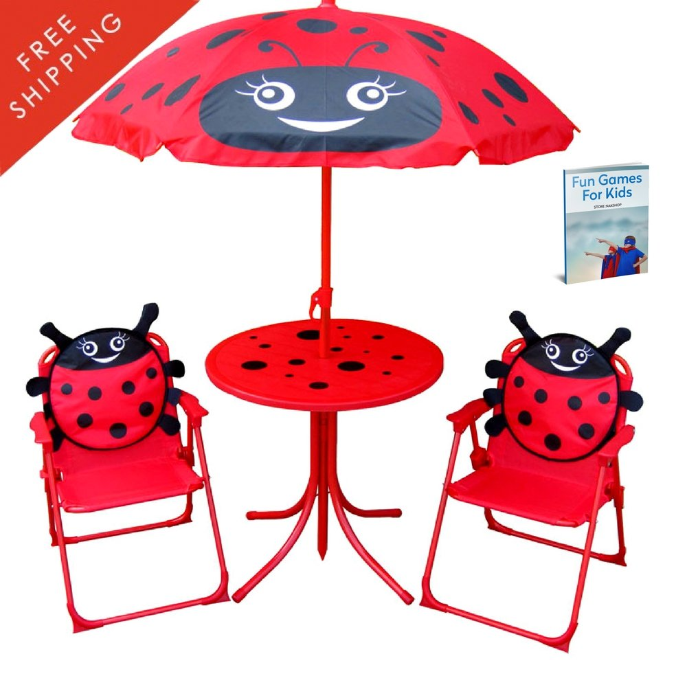 Get Quotations · Kid Folding Table And Chairs Set With Umbrella Seat Canopy  Outdoor For Patio Garden Picnic Camping