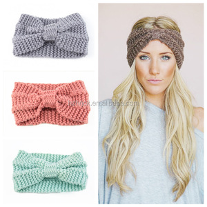 Winter Headband for Women Knit Crochet Turban Warm Head Wrap Hat Ear Warmer Bowknot Band