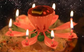 Beautiful Blossom Lotus Flower Candle Birthday Party Cake Music Sparkle Topper Rotating Candles Decoration