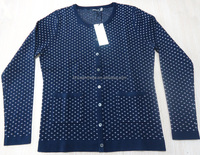 ladies fashion cardigan pima cotton cashmere knitted sweater for womens for fall autumn winter lurex dots jacquard