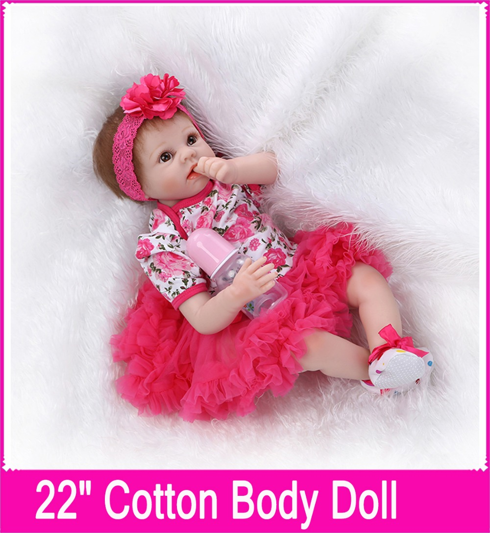 22 Inch Silicone Reborn Baby Doll Toys for Girl Lifelike Reborn Babies Play House Toy Birthday