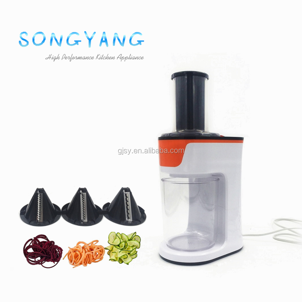 2017 New Kitchen equipment tools electric 3 blades ribbon mandoline slicer chopper spiral vegetables spiralizer