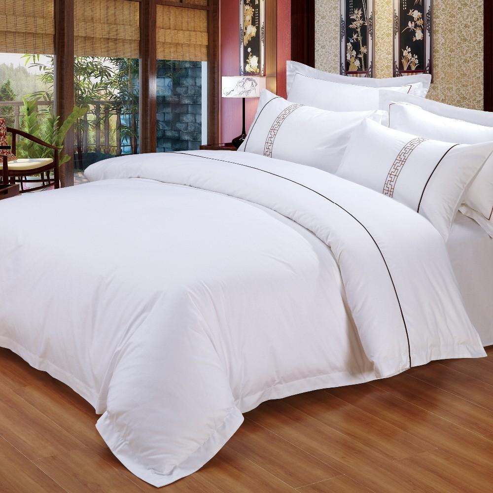 Dubai King Size Satin Hotel Bedding Set Embroidery Hotel
