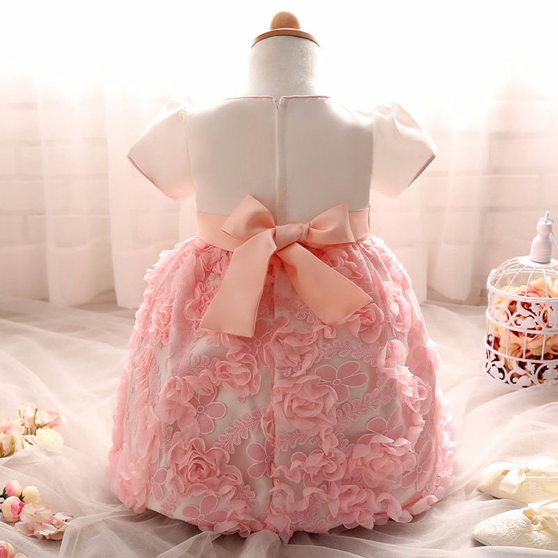 9a7eb41f40c6 2019 Wholesale Flowers Baby Frock Designs Newborn Baby Girl Baptism ...