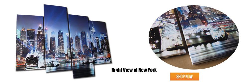 New york night view stampe su tela pittura moderna per for Pittura moderna soggiorno