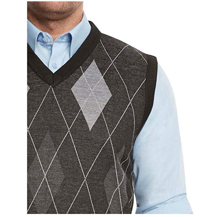 ファッション V ネック綿タータンチェック柄ノースリーブ男性セーター