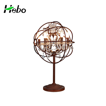 Crystal Table Lamp For Home Decor With Iron Wire Ball Shade Buy