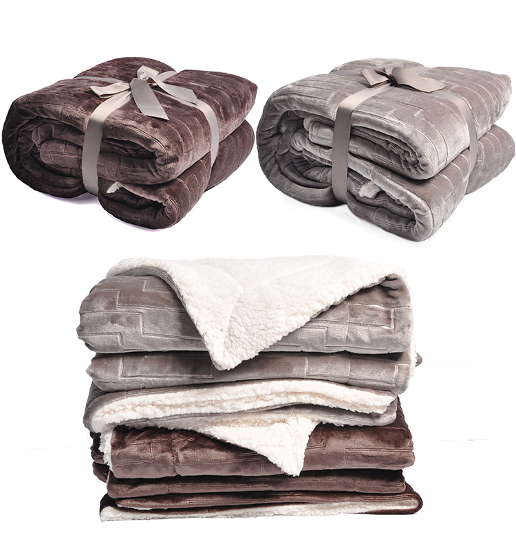 Super Soft Luxurious Extra Thick Reversible 3D Imprinted Flannel Fleece Sherpa Blanket