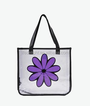 a0b7cc8cf Venta caliente impermeable flor púrpura impreso claro PVC vinilo  transparente plástico cierre de cremallera bolsos de