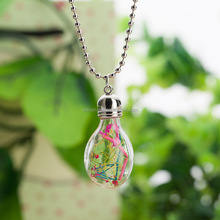 2016 Lovely Gift Glass Dried Flowers Colorful Crystal Necklace New Brand Flower Bulb Bottle Necklace For Women