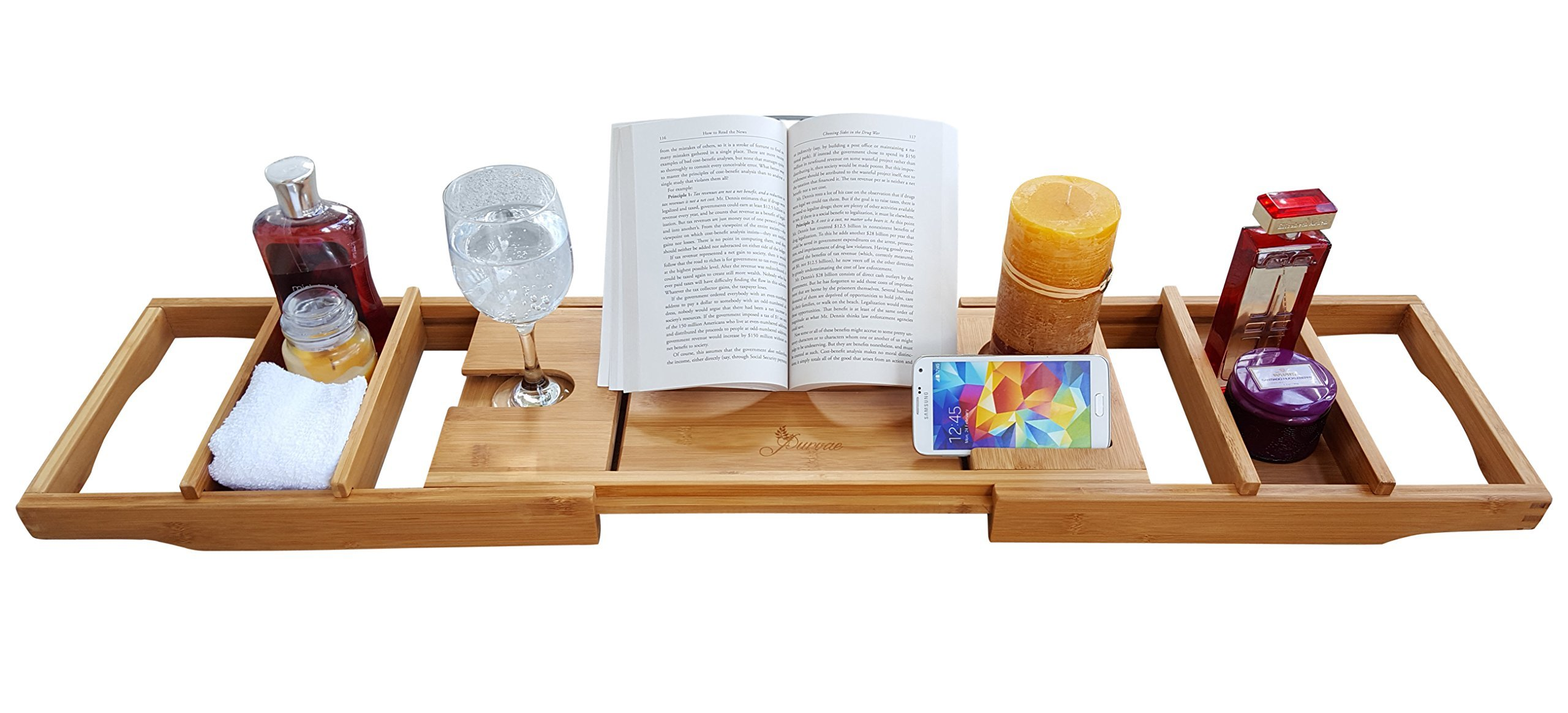 Buy Purvae Luxury Bathtub Caddy With Candle & Book Holder - Natural ...