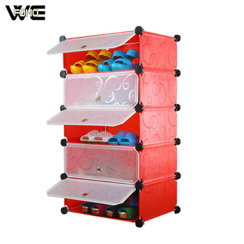 5 Cubes Indoor Shoe Storage Rack Each Cube Can Hold 3 Pairs Lady Shoes