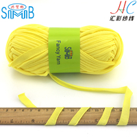 china fancy yarn supplier cheap wholesale high quality 1cm width 100 cotton t shirt yarn for hand knitting